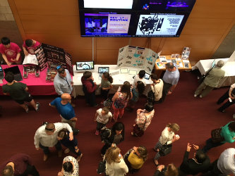 students from the Bethlehem Area School District and Lehigh's Centennial School participated in a Student Exhibition in the Lobby outside Baker Hall