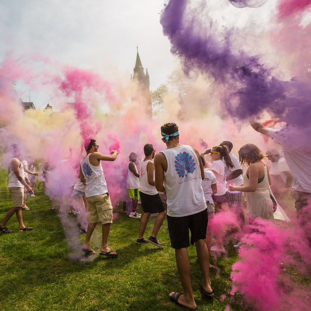 Students at the Hindu celebration Holi