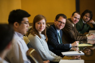 Political historian Jay Cost speaks with students at Lehigh University
