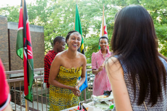 Lehigh Mandela Fellow Julie Ogwapit celebrates culture night in traditional Kenyan clothing.