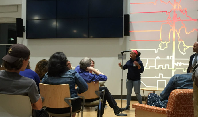 Kevelis Matthews-Alvarado speaks at an open forum on protest and policing at Lehigh.