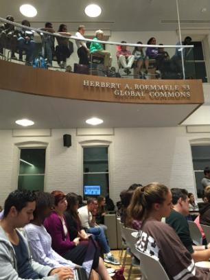 Crowd at lehigh open forum on protest and policing.