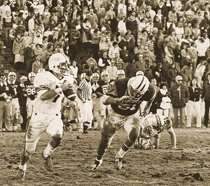 A quarterback for the Lehigh football team running