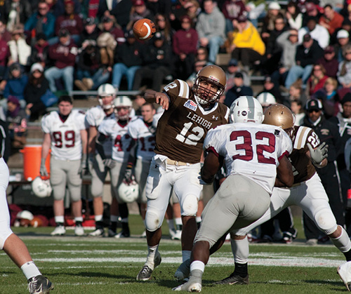 A quarterback for the Lehigh football team passing the ball