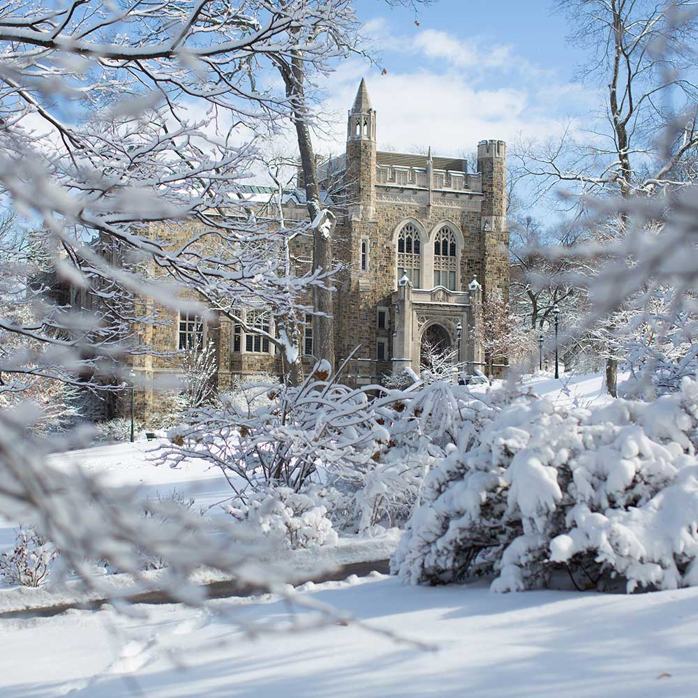 Lehigh's Linderman Library in snow