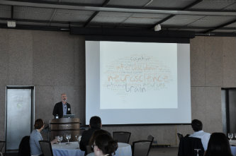 Dwight Bergles of Johns Hopkins University presents at the Lehigh interdisciplinary neuroscience symposium