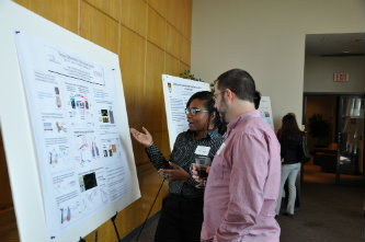 Lashaka Jones, graduate student in neuroscience, presents her poster at Lehigh interdisciplinary neuroscience symposium.