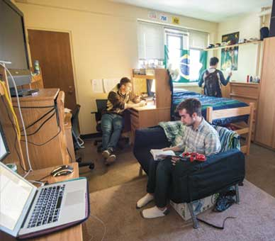 Lehigh students studying in dorm room