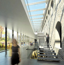 Hallway Rendering in University Center Renovation