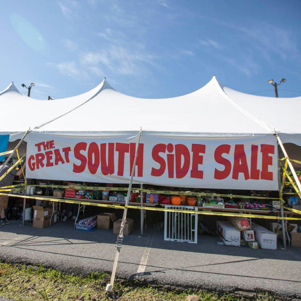 "A banner that says, ""The Great South Side Sale"""