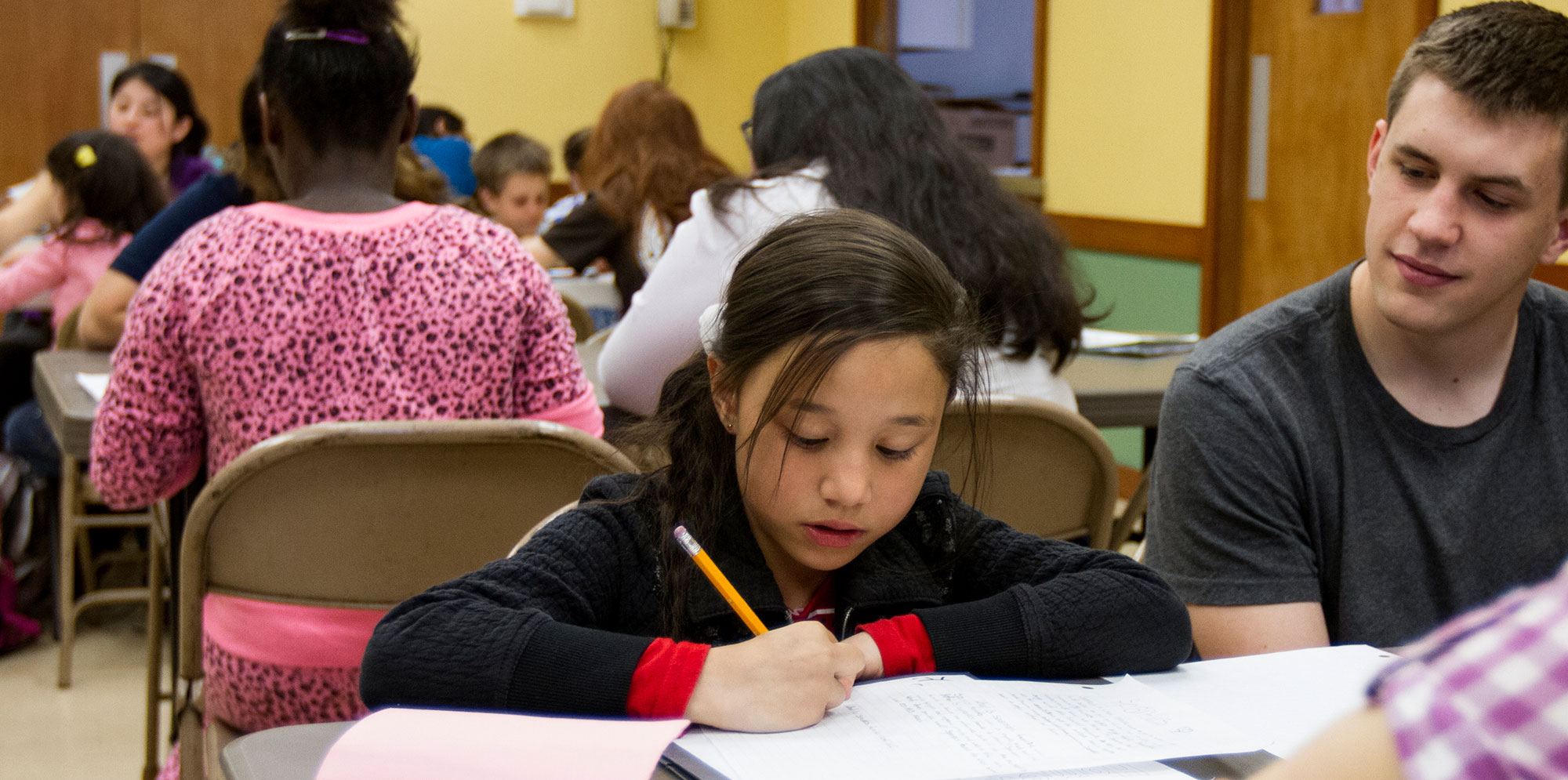 Young child working on homework