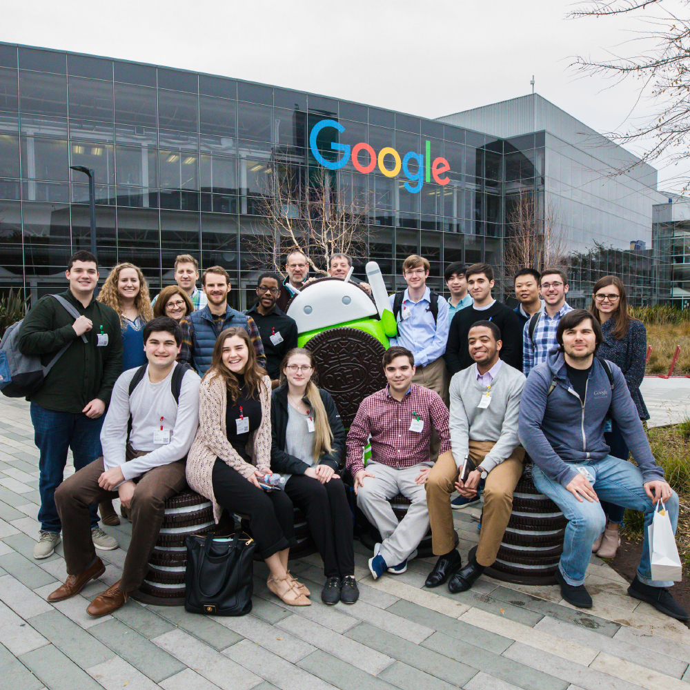 Group of students outside of a Google building