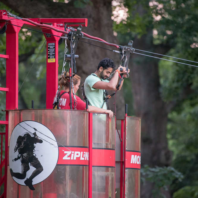 Students ziplining