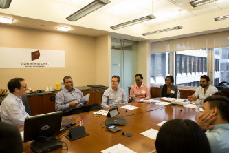 Lehigh Mandela Fellows and Global Villagers meet at Cornerstone Capital Management