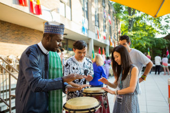 Lehigh Mandela Fellows and Global Villagers play drums at culture night.