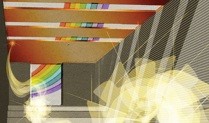 In this illustration of a terahertz plasmonic laser, the laser cavity is enclosed between two metal films (with periodic slits on the top film). The colors represent coherent SPP light waves. One wave is confined inside the 10-micron-thick cavity. The oth