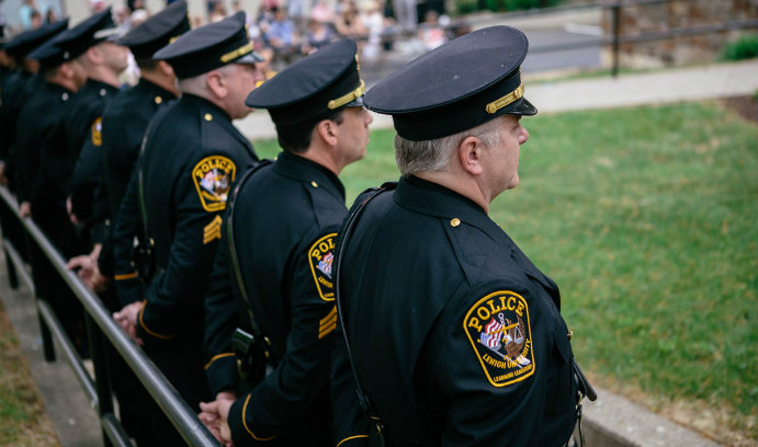 Officers of the Lehigh University Police Department at a ceremony.