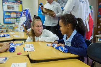 Lehigh scholar athlete and McKinley Elementary student talk.