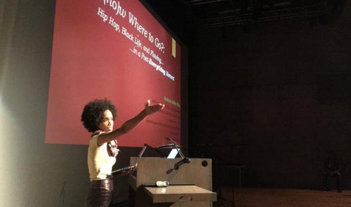 Monica Miller giving a talk