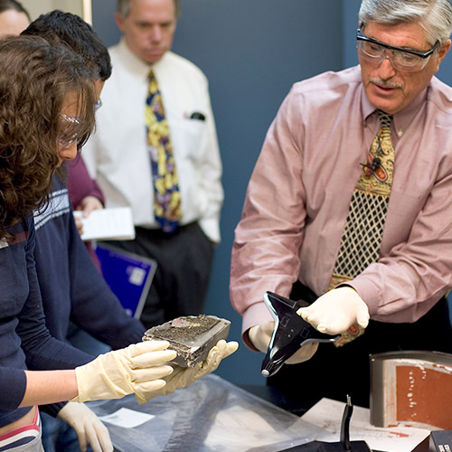Lehigh professors and students examining debris from the Space Shuttle Columbia disaster