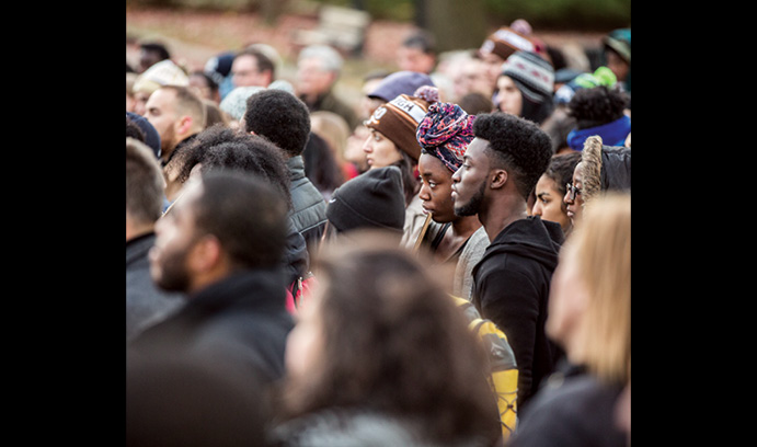 Students at a rally in support of the students of the University of Missouri.