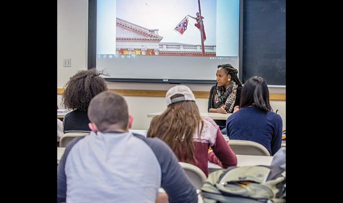Activist Bree Newsome speaks to a class