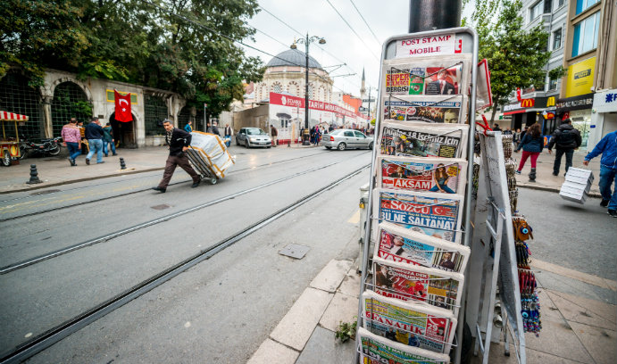 Newspapers on an Istanbul street, Turkey