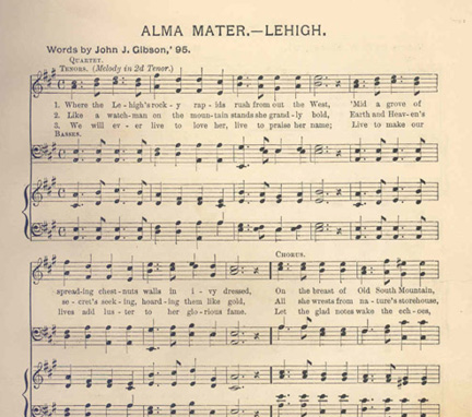 Sheet music for Lehigh's Alma Mater