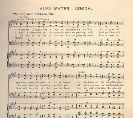 Sheet music for Lehigh's Alma Mater