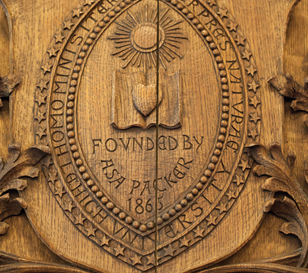 The Lehigh seal carved in wood
