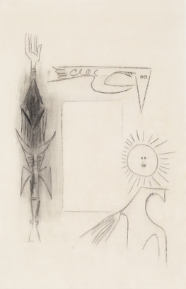 Figuras y Rectángulo con Sol, drawing by Wifredo Lam