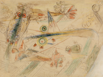 Composición con Máscara, drawing by Wifredo Lam