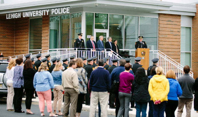 Crowd gathers at LUPD National Police Week ceremony.
