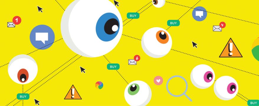 Illustration of eyeballs looking at different screen notifications.