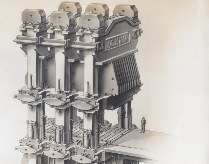 Illustration of a man standing in front of a large-scale manufacturing machine.