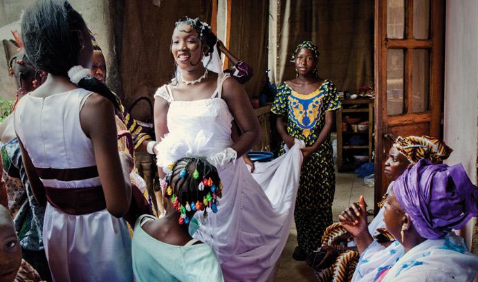 Women prepare for a wedding in Mali.