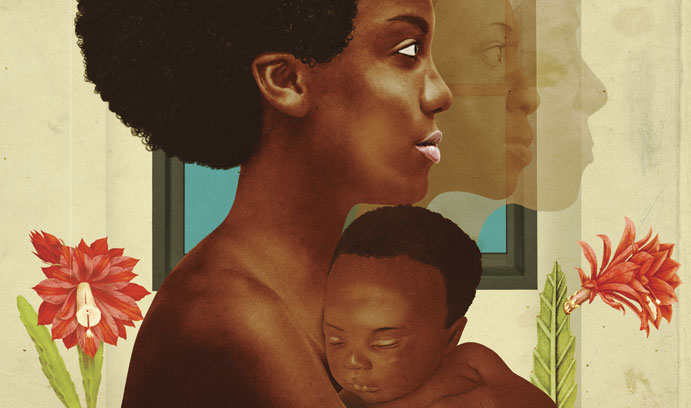 An African American woman holds her baby to her chest with images of her mother and grandmother behind her.