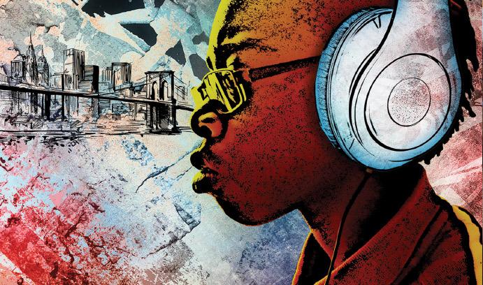 Illustration of an African American boy wearing headphones