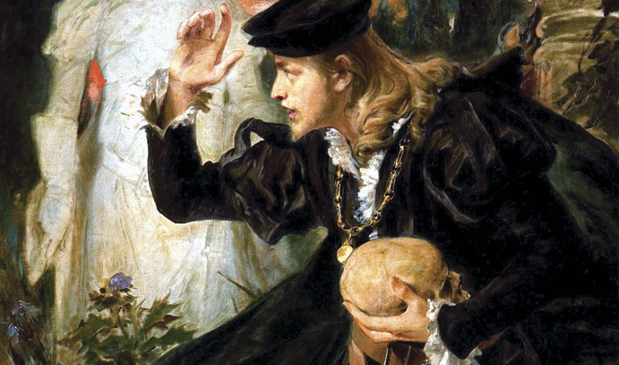 Painting of Hamlet with skull in hand and ghost in background
