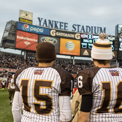 Lehigh football players at Yankee Stadium