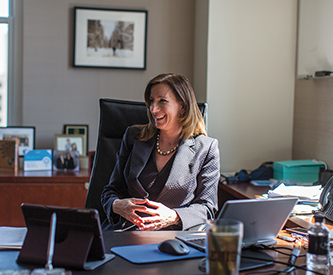 Cathy Engelbert '86 at her desk