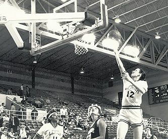 Cathy Engelbert '86 playing basketball while at Lehigh