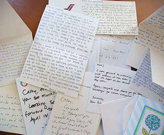 Congratulatory hand-written notes