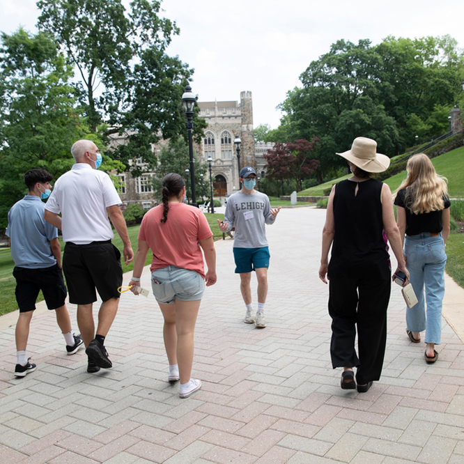 students walking on an admissions tour