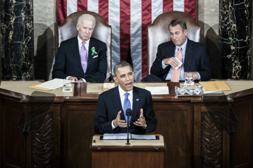 President Obama delivering a speech