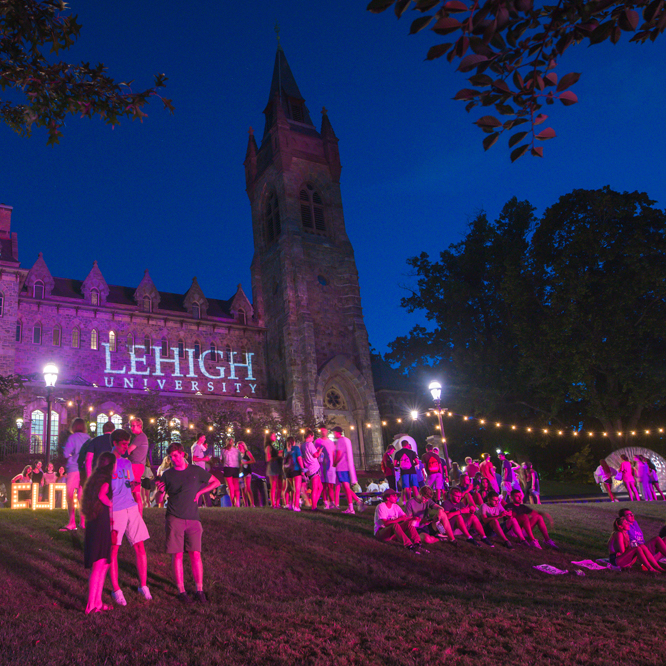 Lehigh University University Center lit up at night