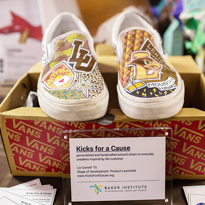 Sneakers made by students at the Baker Institute.