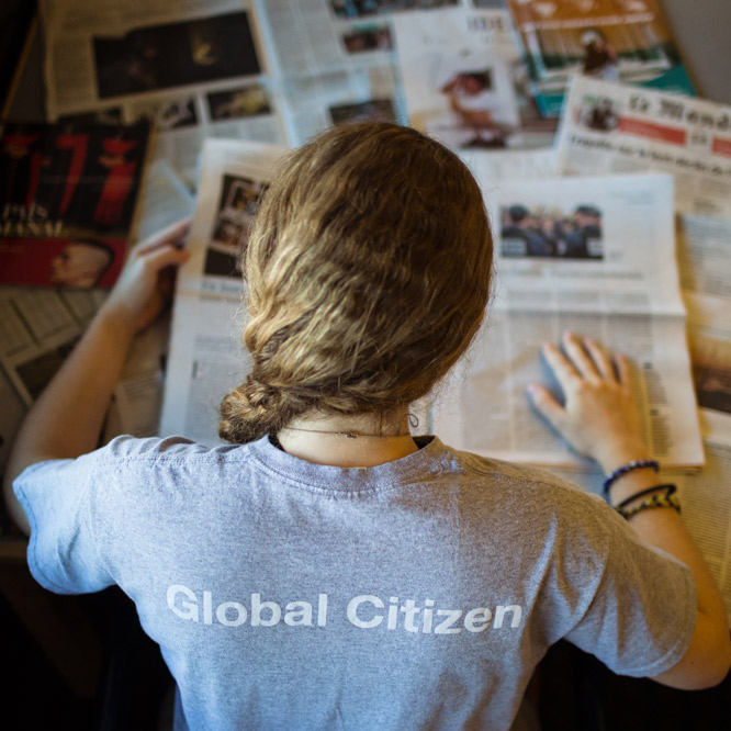 Lehigh student with Global Citizenship Program shirt