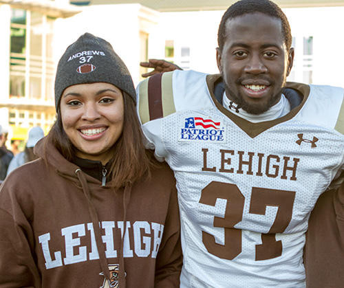 Lehigh football player with a Lehigh football fan