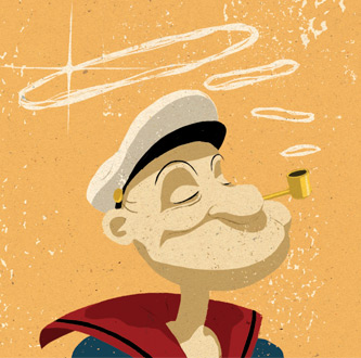 Cartoon Popeye smoking cornpipe